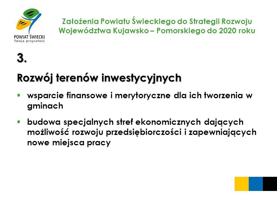 Założenia Powiatu Świeckiego do Strategii Rozwoju Województwa Kujawsko – Pomorskiego do 2020 roku 3. Rozwój terenów inwestycyjnych wsparcie finansowe