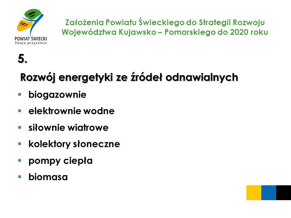Założenia Powiatu Świeckiego do Strategii Rozwoju Województwa Kujawsko – Pomorskiego do 2020 roku 5. Rozwój energetyki ze źródeł odnawialnych biogazow