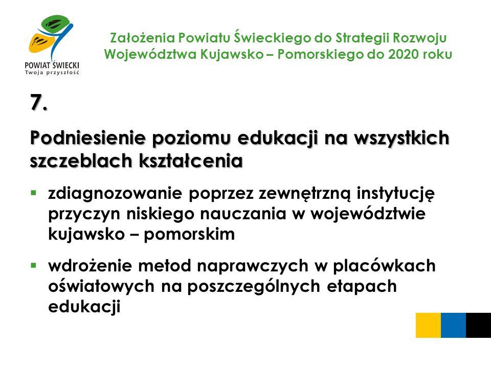 Założenia Powiatu Świeckiego do Strategii Rozwoju Województwa Kujawsko – Pomorskiego do 2020 roku 7. Podniesienie poziomu edukacji na wszystkich szcze