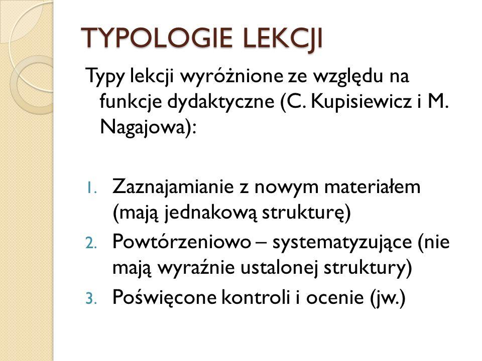 TYPOLOGIE LEKCJI Typy lekcji wyróżnione ze względu na funkcje dydaktyczne (C. Kupisiewicz i M. Nagajowa): 1. Zaznajamianie z nowym materiałem (mają je