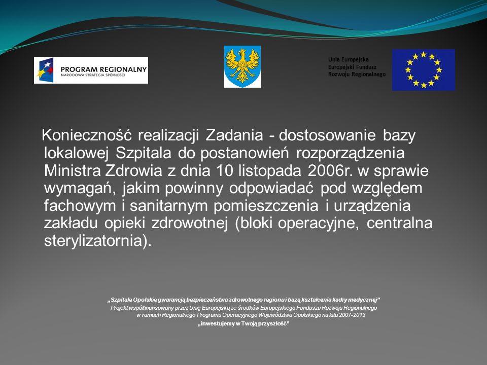Konieczność realizacji Zadania - dostosowanie bazy lokalowej Szpitala do postanowień rozporządzenia Ministra Zdrowia z dnia 10 listopada 2006r.