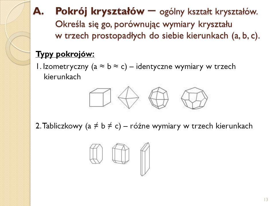 A.Pokrój kryształów – ogólny kształt kryształów. Określa się go, porównując wymiary kryształu w trzech prostopadłych do siebie kierunkach (a, b, c). T
