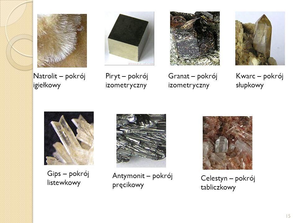 15 Piryt – pokrój izometryczny Granat – pokrój izometryczny Kwarc – pokrój słupkowy Gips – pokrój listewkowy Antymonit – pokrój pręcikowy Celestyn – p