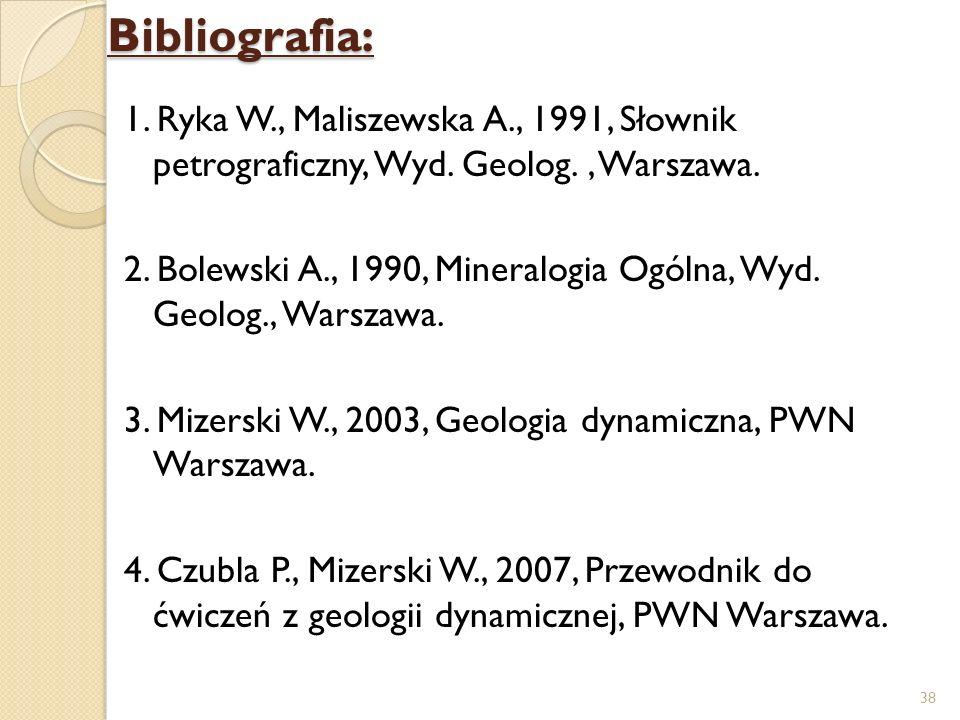 Bibliografia: 1. Ryka W., Maliszewska A., 1991, Słownik petrograficzny, Wyd. Geolog., Warszawa. 2. Bolewski A., 1990, Mineralogia Ogólna, Wyd. Geolog.