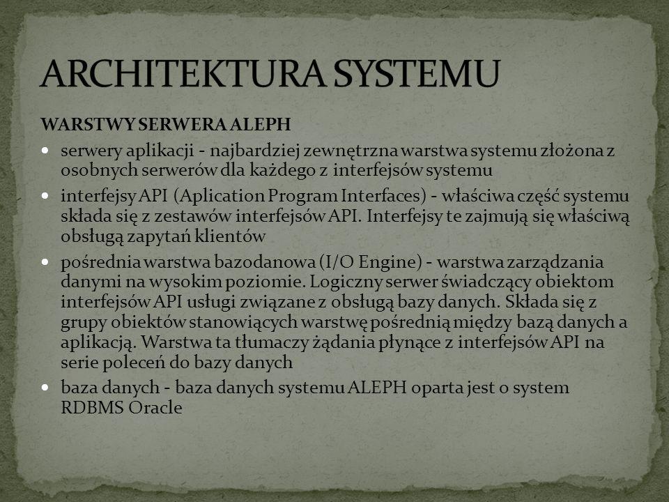 WARSTWY SERWERA ALEPH serwery aplikacji - najbardziej zewnętrzna warstwa systemu złożona z osobnych serwerów dla każdego z interfejsów systemu interfejsy API (Aplication Program Interfaces) - właściwa część systemu składa się z zestawów interfejsów API.