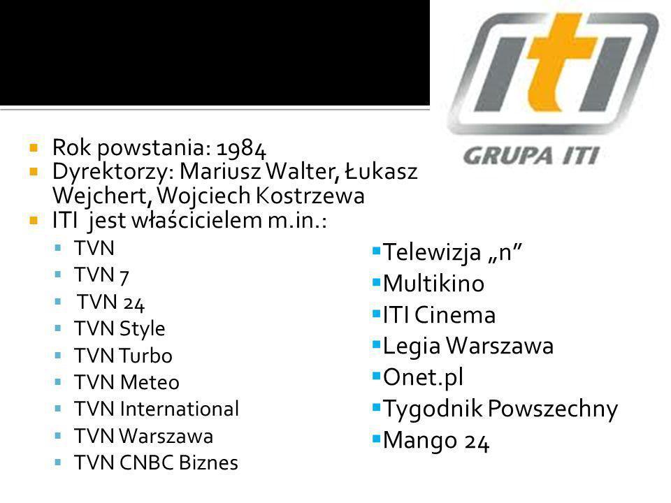 Rok powstania: 1984 Dyrektorzy: Mariusz Walter, Łukasz Wejchert, Wojciech Kostrzewa ITI jest właścicielem m.in.: TVN TVN 7 TVN 24 TVN Style TVN Turbo