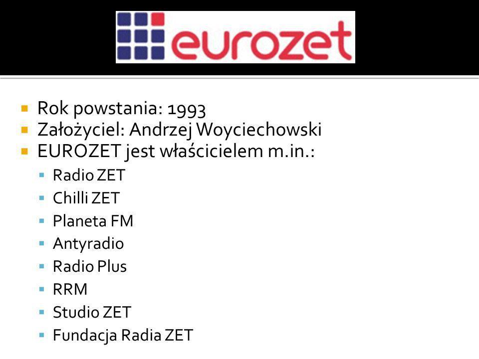Rok powstania: 1993 Założyciel: Andrzej Woyciechowski EUROZET jest właścicielem m.in.: Radio ZET Chilli ZET Planeta FM Antyradio Radio Plus RRM Studio