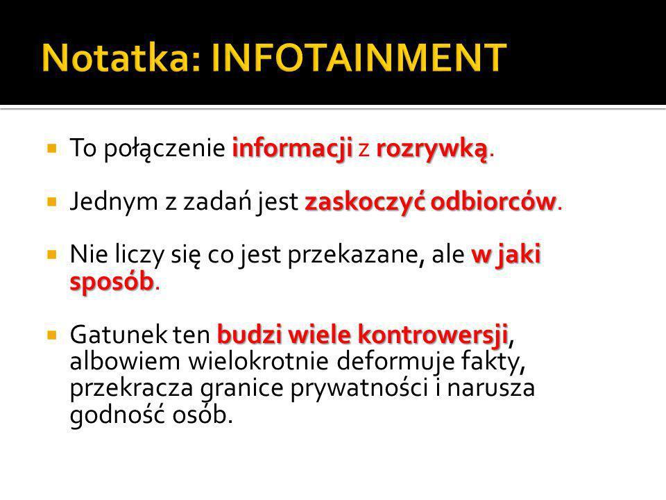 informacji rozrywką To połączenie informacji z rozrywką.