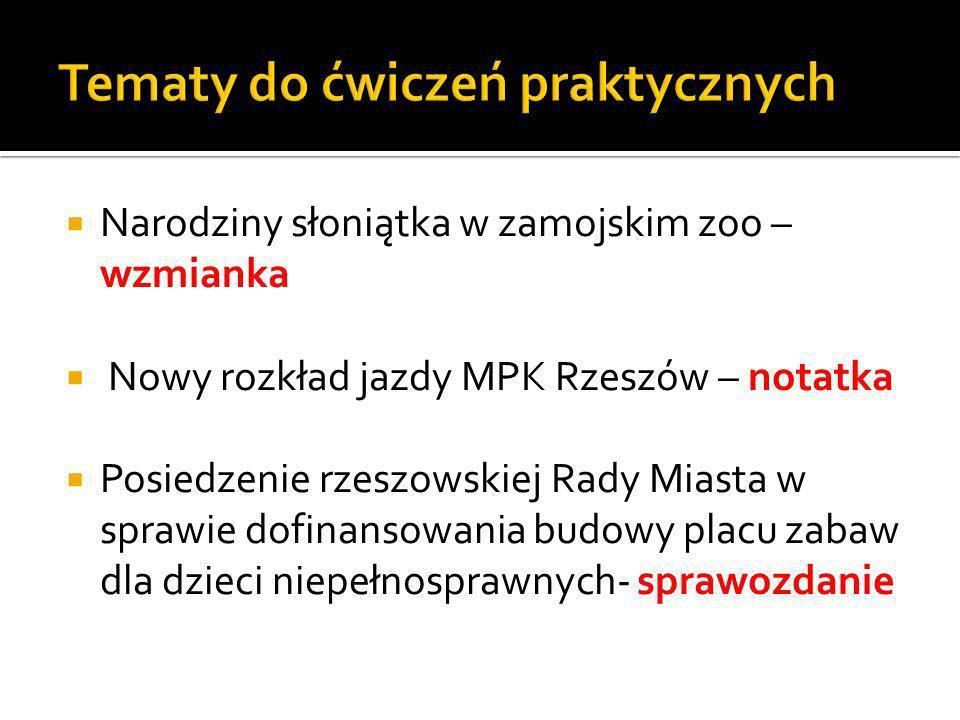 Narodziny słoniątka w zamojskim zoo – wzmianka Nowy rozkład jazdy MPK Rzeszów – notatka Posiedzenie rzeszowskiej Rady Miasta w sprawie dofinansowania budowy placu zabaw dla dzieci niepełnosprawnych- sprawozdanie