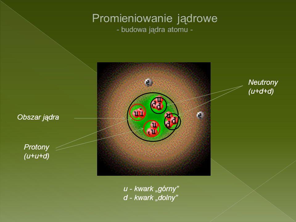Obszar jądra Neutrony (u+d+d) Protony (u+u+d) u - kwark górny d - kwark dolny