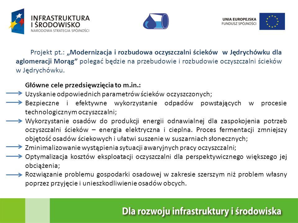 Projekt pt.: Modernizacja i rozbudowa oczyszczalni ścieków w Jędrychówku dla aglomeracji Morąg polegać będzie na przebudowie i rozbudowie oczyszczalni