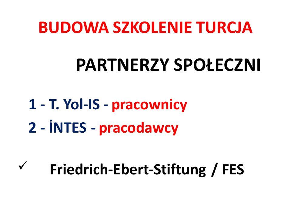 BUDOWA SZKOLENIE TURCJA PARTNERZY SPOŁECZNI 1 - T. Yol-IS - pracownicy 2 - İNTES - pracodawcy Friedrich-Ebert-Stiftung / FES