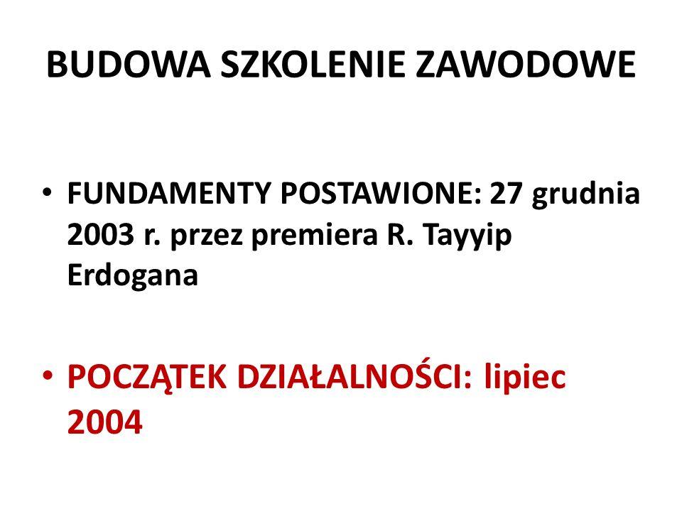 BUDOWA SZKOLENIE ZAWODOWE FUNDAMENTY POSTAWIONE: 27 grudnia 2003 r. przez premiera R. Tayyip Erdogana POCZĄTEK DZIAŁALNOŚCI: lipiec 2004