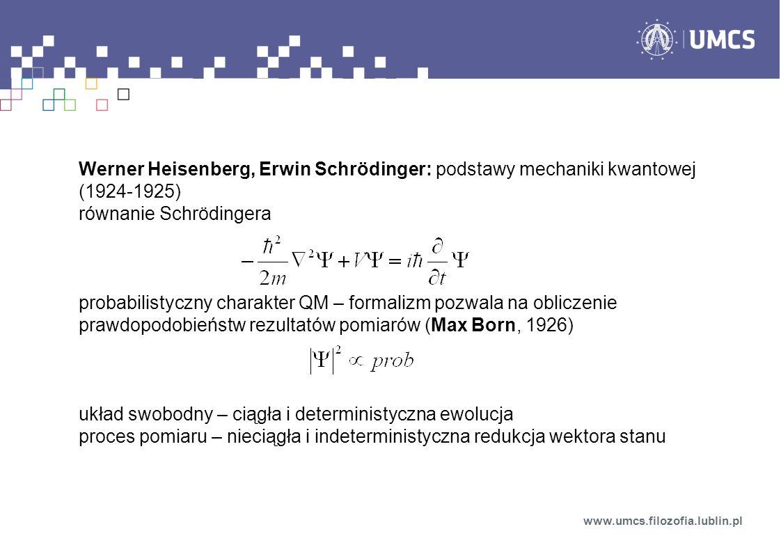 Werner Heisenberg, Erwin Schrödinger: podstawy mechaniki kwantowej (1924-1925) równanie Schrödingera probabilistyczny charakter QM – formalizm pozwala