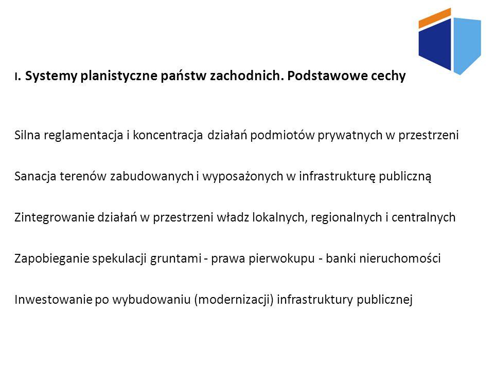 I. Systemy planistyczne państw zachodnich. Podstawowe cechy Silna reglamentacja i koncentracja działań podmiotów prywatnych w przestrzeni Sanacja tere
