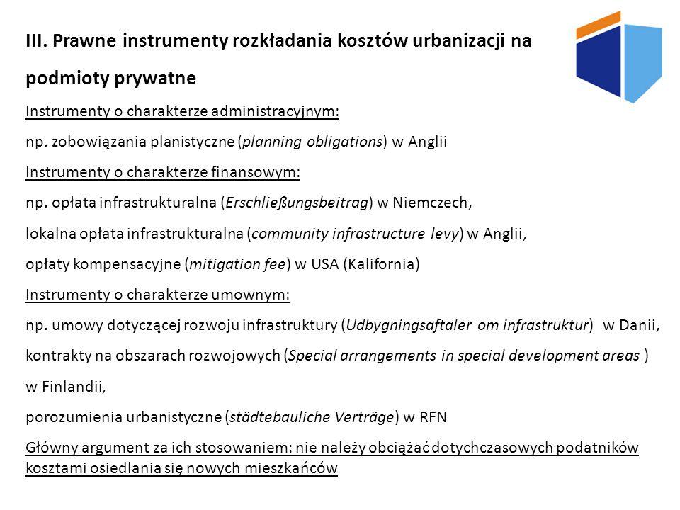 III. Prawne instrumenty rozkładania kosztów urbanizacji na podmioty prywatne Instrumenty o charakterze administracyjnym: np. zobowiązania planistyczne