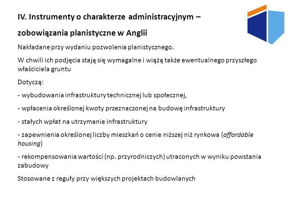 IV. Instrumenty o charakterze administracyjnym – zobowiązania planistyczne w Anglii Nakładane przy wydaniu pozwolenia planistycznego. W chwili ich pod