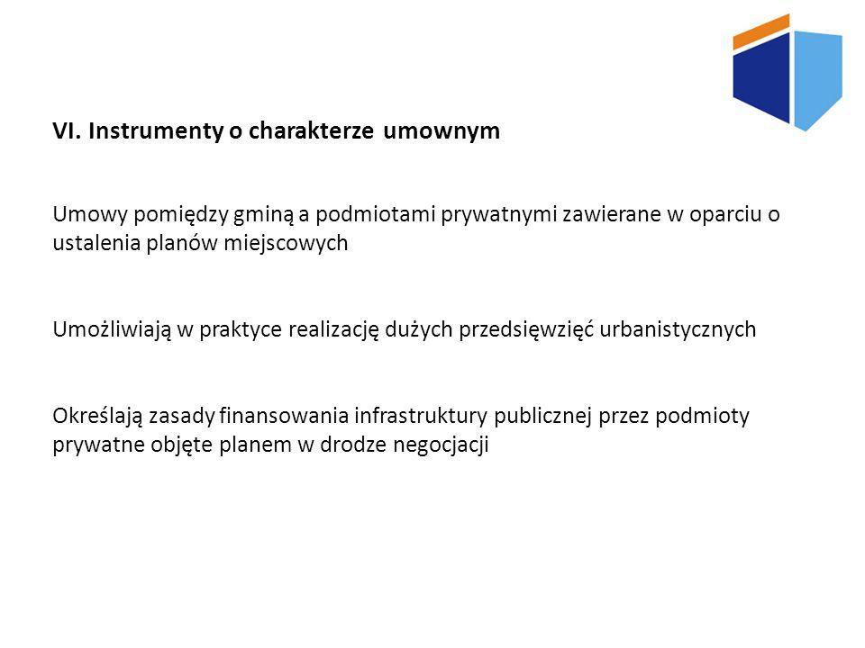 VI. Instrumenty o charakterze umownym Umowy pomiędzy gminą a podmiotami prywatnymi zawierane w oparciu o ustalenia planów miejscowych Umożliwiają w pr