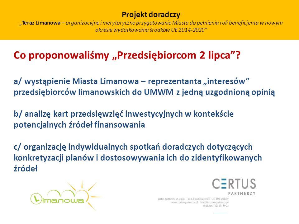 Co proponowaliśmy Przedsiębiorcom 2 lipca? a/ wystąpienie Miasta Limanowa – reprezentanta interesów przedsiębiorców limanowskich do UMWM z jedną uzgod
