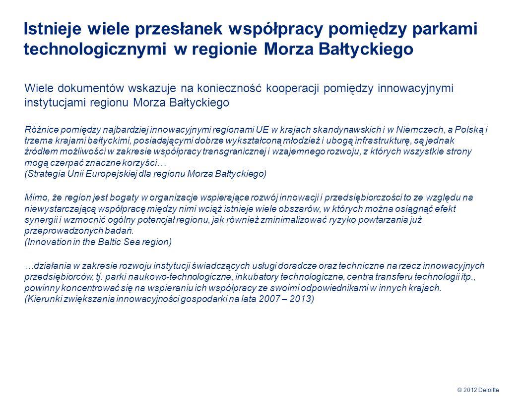 © 2012 Deloitte Strategia współpracy parków technologicznych