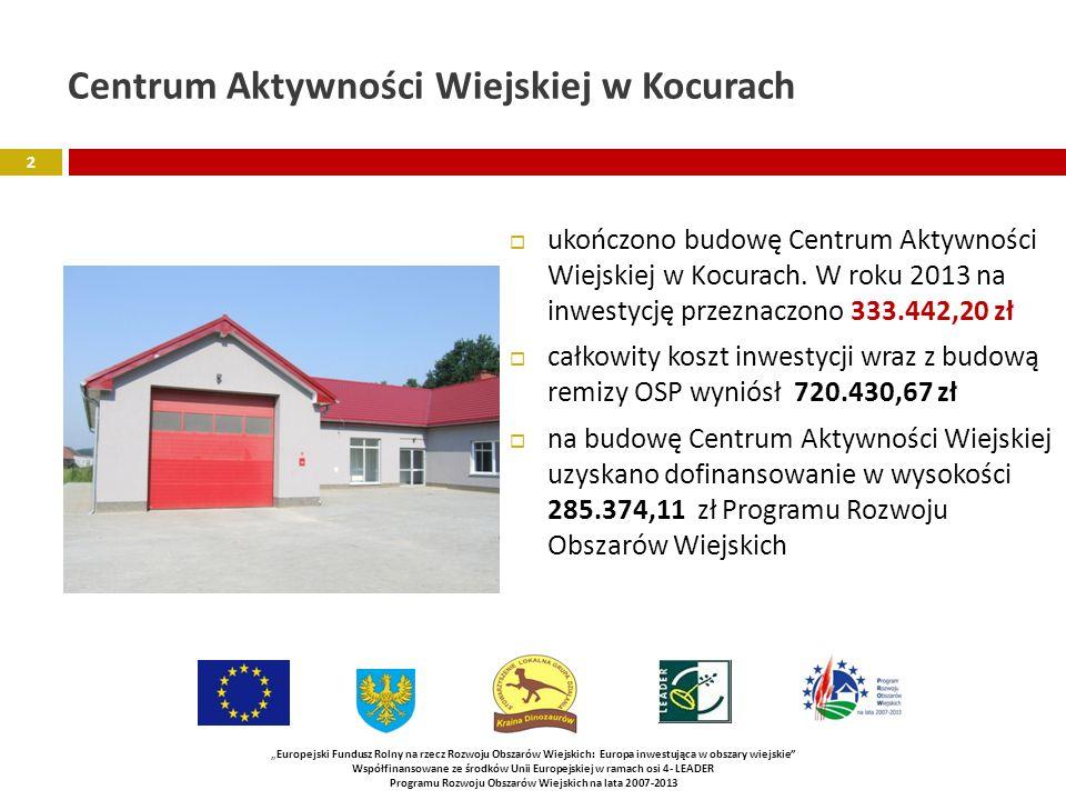 Centrum Aktywności Wiejskiej w Kocurach ukończono budowę Centrum Aktywności Wiejskiej w Kocurach.