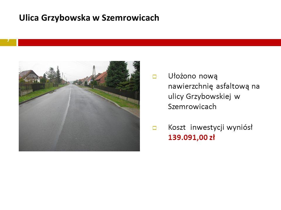 7 Ulica Grzybowska w Szemrowicach Ułożono nową nawierzchnię asfaltową na ulicy Grzybowskiej w Szemrowicach Koszt inwestycji wyniósł 139.091,00 zł