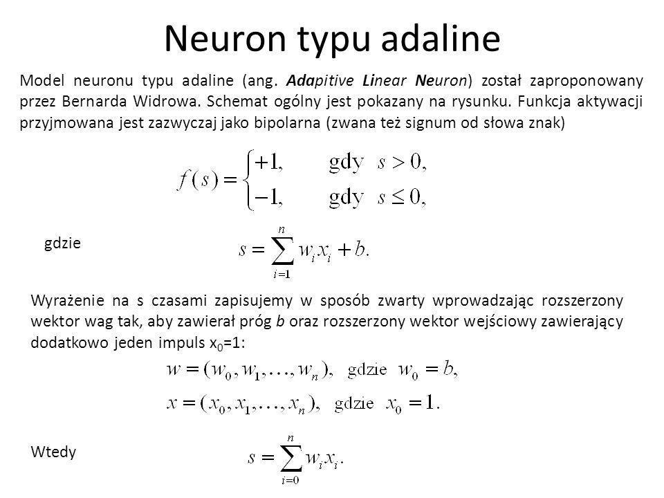 Model neuronu typu adaline (ang. Adapitive Linear Neuron) został zaproponowany przez Bernarda Widrowa. Schemat ogólny jest pokazany na rysunku. Funkcj