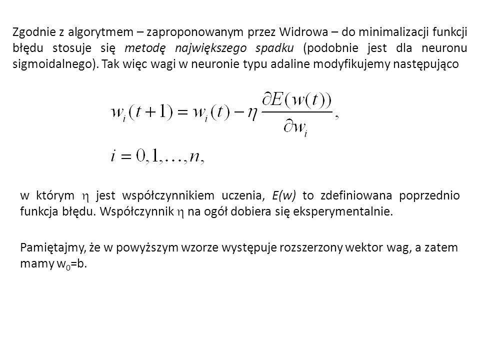 Zgodnie z algorytmem – zaproponowanym przez Widrowa – do minimalizacji funkcji błędu stosuje się metodę największego spadku (podobnie jest dla neuronu