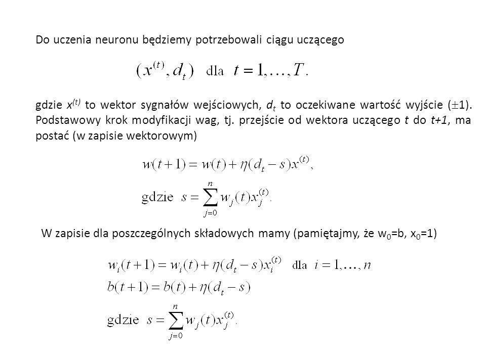 Do uczenia neuronu będziemy potrzebowali ciągu uczącego gdzie x (t) to wektor sygnałów wejściowych, d t to oczekiwane wartość wyjście ( 1). Podstawowy