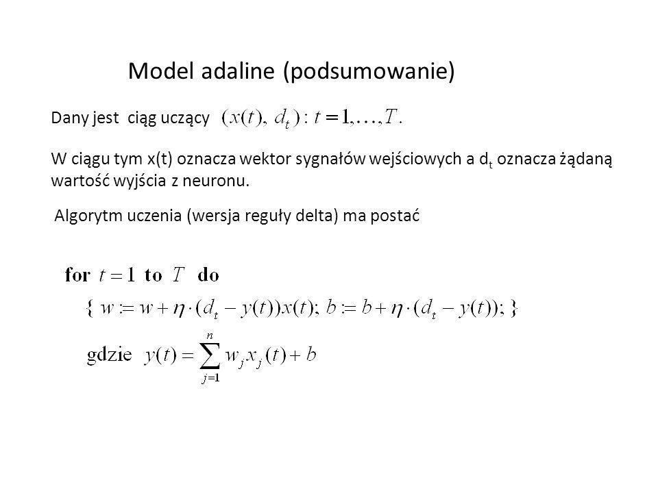 Model adaline (podsumowanie) Dany jest ciąg uczący W ciągu tym x(t) oznacza wektor sygnałów wejściowych a d t oznacza żądaną wartość wyjścia z neuronu