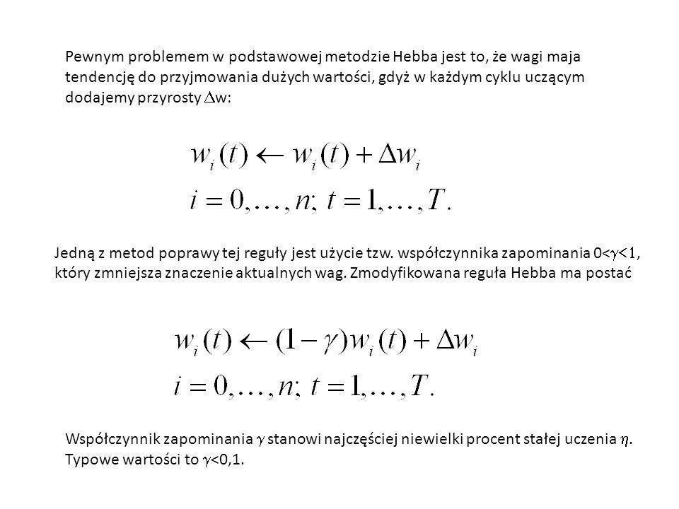Pewnym problemem w podstawowej metodzie Hebba jest to, że wagi maja tendencję do przyjmowania dużych wartości, gdyż w każdym cyklu uczącym dodajemy pr