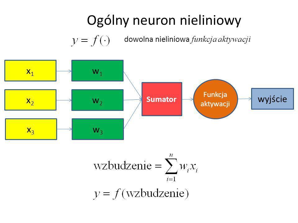 x1x1 x3x3 x2x2 w1w1 w3w3 w2w2 Sumator Funkcja aktywacji wyjście Ogólny neuron nieliniowy dowolna nieliniowa funkcja aktywacji