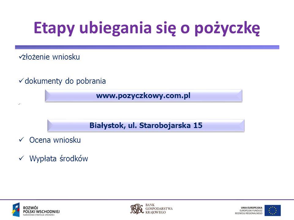 4 Etapy ubiegania się o pożyczkę złożenie wniosku dokumenty do pobrania Ocena wniosku Wypłata środków www.pozyczkowy.com.pl Białystok, ul.
