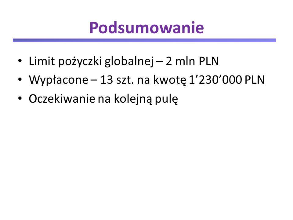 Podsumowanie Limit pożyczki globalnej – 2 mln PLN Wypłacone – 13 szt.