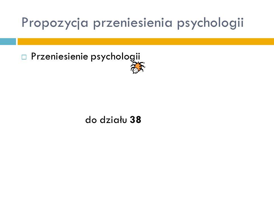 Propozycja przeniesienia psychologii Przeniesienie psychologii do działu 38