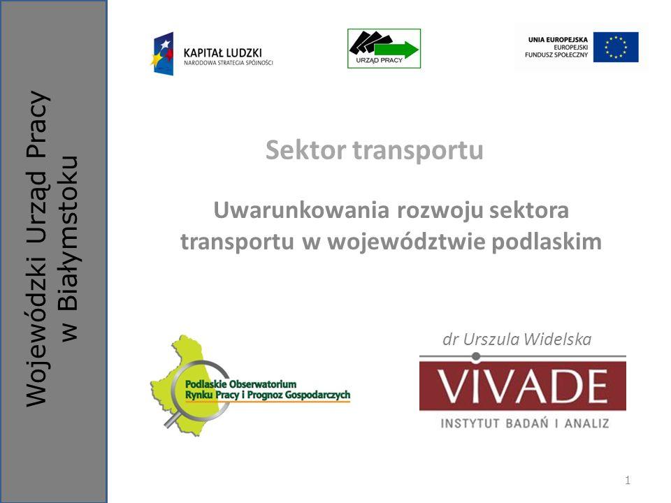 Wojewódzki Urząd Pracy w Białymstoku Sektor transportu Uwarunkowania rozwoju sektora transportu w województwie podlaskim dr Urszula Widelska 1