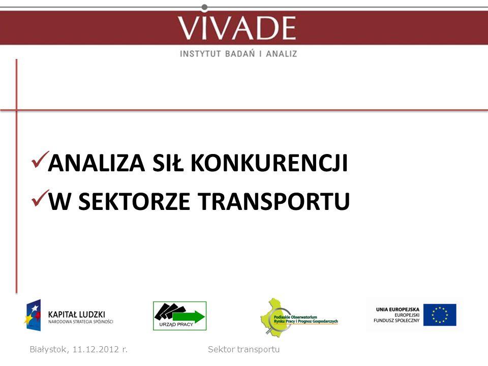 ANALIZA SIŁ KONKURENCJI W SEKTORZE TRANSPORTU Białystok, 11.12.2012 r.Sektor transportu
