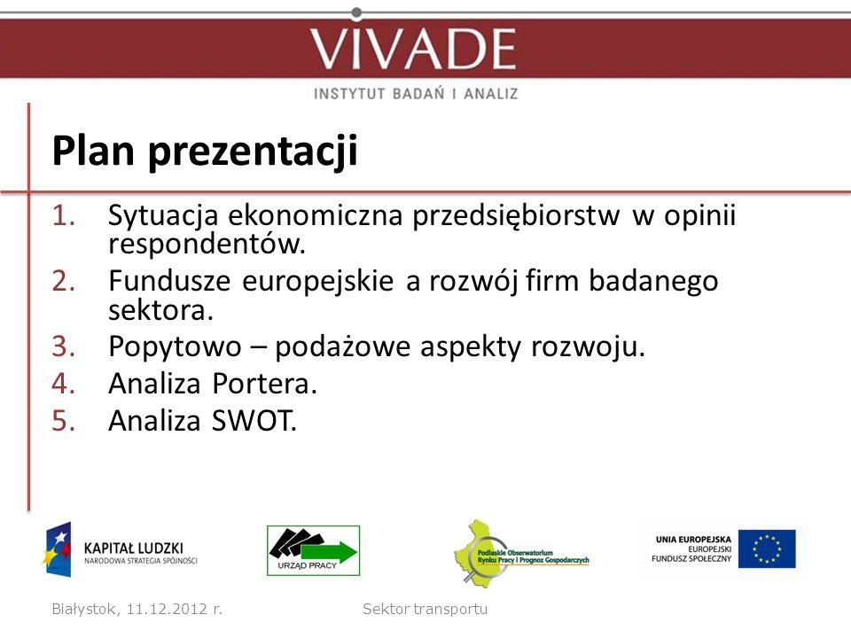 Plan prezentacji 1.Sytuacja ekonomiczna przedsiębiorstw w opinii respondentów. 2.Fundusze europejskie a rozwój firm badanego sektora. 3.Popytowo – pod