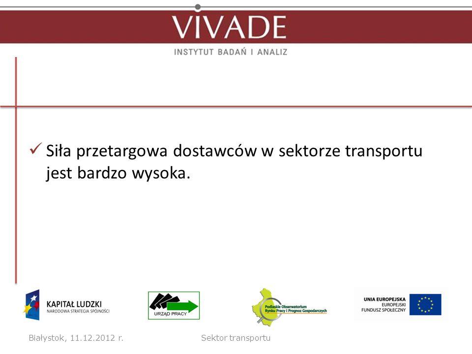Siła przetargowa dostawców w sektorze transportu jest bardzo wysoka. Białystok, 11.12.2012 r.Sektor transportu