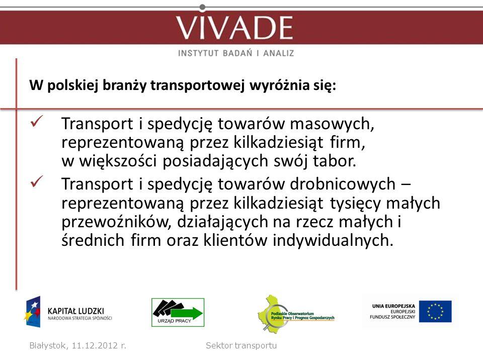 W polskiej branży transportowej wyróżnia się: Transport i spedycję towarów masowych, reprezentowaną przez kilkadziesiąt firm, w większości posiadający