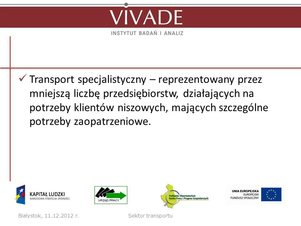 Transport specjalistyczny – reprezentowany przez mniejszą liczbę przedsiębiorstw, działających na potrzeby klientów niszowych, mających szczególne pot