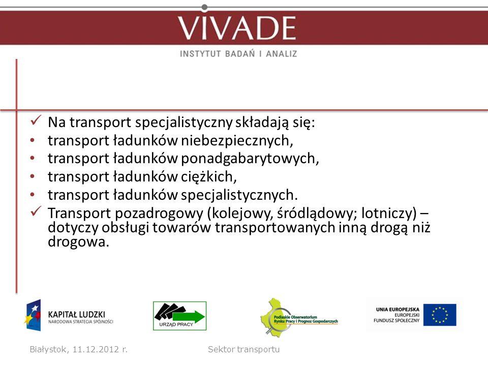 Na transport specjalistyczny składają się: transport ładunków niebezpiecznych, transport ładunków ponadgabarytowych, transport ładunków ciężkich, tran
