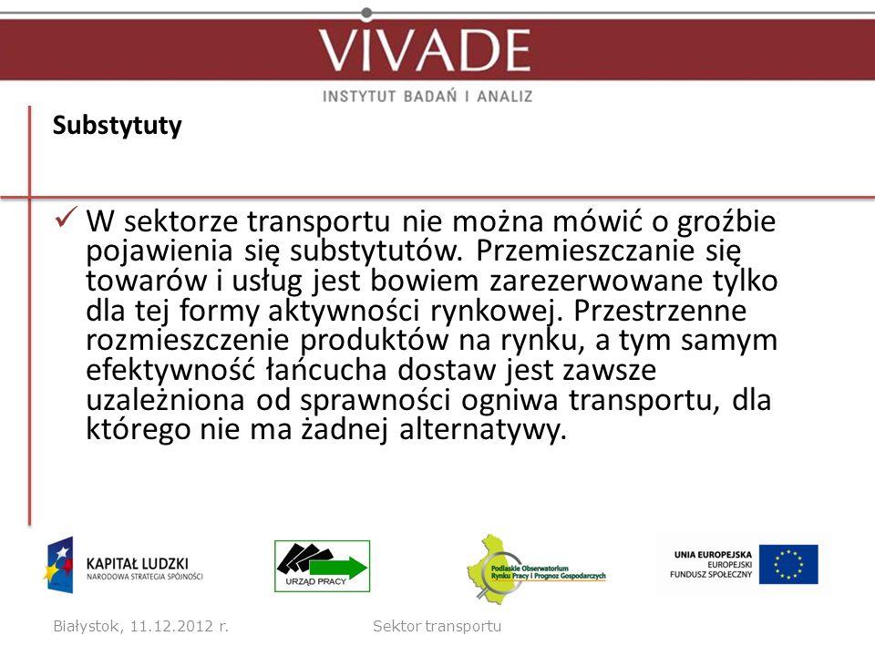 Substytuty W sektorze transportu nie można mówić o groźbie pojawienia się substytutów. Przemieszczanie się towarów i usług jest bowiem zarezerwowane t