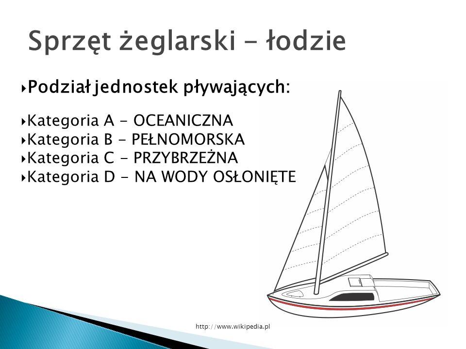 Podział jednostek pływających: Kategoria A - OCEANICZNA Kategoria B - PEŁNOMORSKA Kategoria C - PRZYBRZEŻNA Kategoria D - NA WODY OSŁONIĘTE Sprzęt żeglarski - łodzie http://www.wikipedia.pl