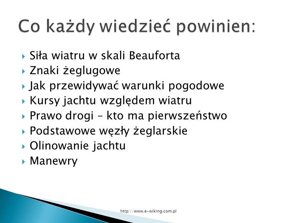 Siła wiatru w skali Beauforta Znaki żeglugowe Jak przewidywać warunki pogodowe Kursy jachtu względem wiatru Prawo drogi – kto ma pierwszeństwo Podstawowe węzły żeglarskie Olinowanie jachtu Manewry http://www.e-wiking.com.pl