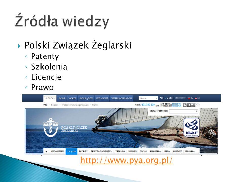 Polski Związek Żeglarski Patenty Szkolenia Licencje Prawo http://www.pya.org.pl/