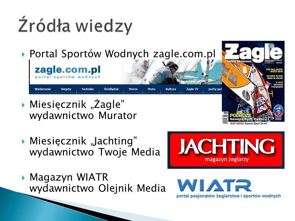 Portal Sportów Wodnych zagle.com.pl Miesięcznik Żagle wydawnictwo Murator Miesięcznik Jachting wydawnictwo Twoje Media Magazyn WIATR wydawnictwo Olejnik Media