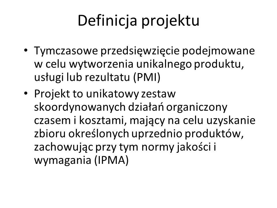 Definicja projektu Tymczasowe przedsięwzięcie podejmowane w celu wytworzenia unikalnego produktu, usługi lub rezultatu (PMI) Projekt to unikatowy zestaw skoordynowanych działań organiczony czasem i kosztami, mający na celu uzyskanie zbioru określonych uprzednio produktów, zachowując przy tym normy jakości i wymagania (IPMA)