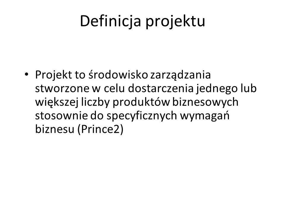 Definicja projektu Projekt to środowisko zarządzania stworzone w celu dostarczenia jednego lub większej liczby produktów biznesowych stosownie do specyficznych wymagań biznesu (Prince2)