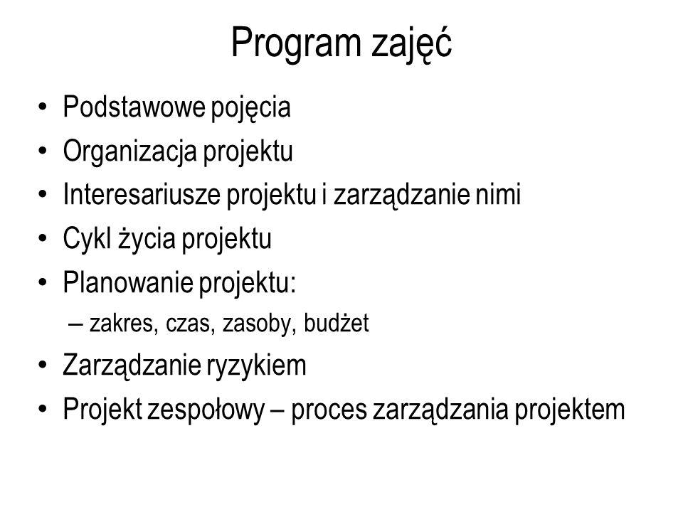 Program zajęć Podstawowe pojęcia Organizacja projektu Interesariusze projektu i zarządzanie nimi Cykl życia projektu Planowanie projektu: – zakres, czas, zasoby, budżet Zarządzanie ryzykiem Projekt zespołowy – proces zarządzania projektem